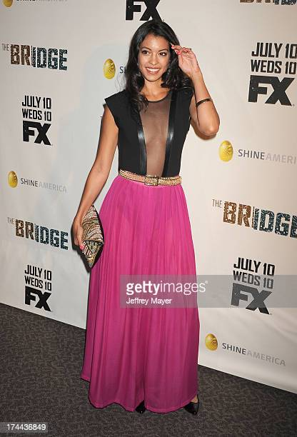 Actress Stephanie Sigman arrives at the Series Premiere Of FX's 'The Bridge' at DGA Theater on July 8 2013 in Los Angeles California