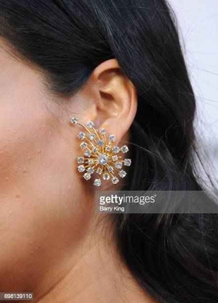Actress Stephanie Sigman jewelry detail attends the 2017 Los Angeles Film Festival Premiere of Warner Brothers Pictures' 'Annabelle Creation' at The...