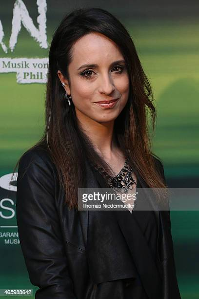 Actress Stephanie Stumph poses at the red carpet prior to the Tarzan musical charity event at Stage Apollo Theater on March 12 2015 in Stuttgart...
