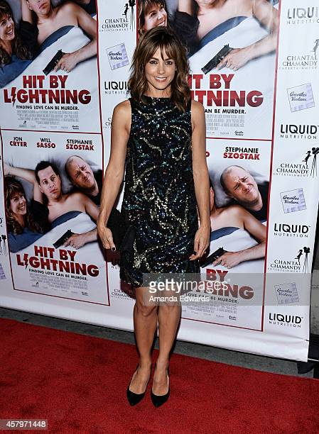 Actress Stephanie Szostak arrives at the Los Angeles premiere of Hit By Lightning at the ArcLight Hollywood on October 27 2014 in Hollywood California