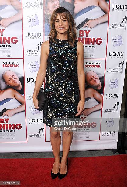 Actress Stephanie Szostak arrives at the Los Angeles premiere of Hit By Lightning at ArcLight Hollywood on October 27 2014 in Hollywood California