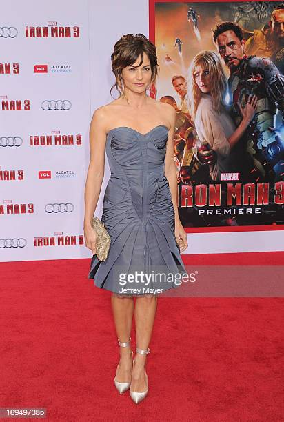 Actress Stephanie Szostak arrives at the Los Angeles Premiere of Iron Man 3 at the El Capitan Theatre on April 24 2013 in Hollywood California