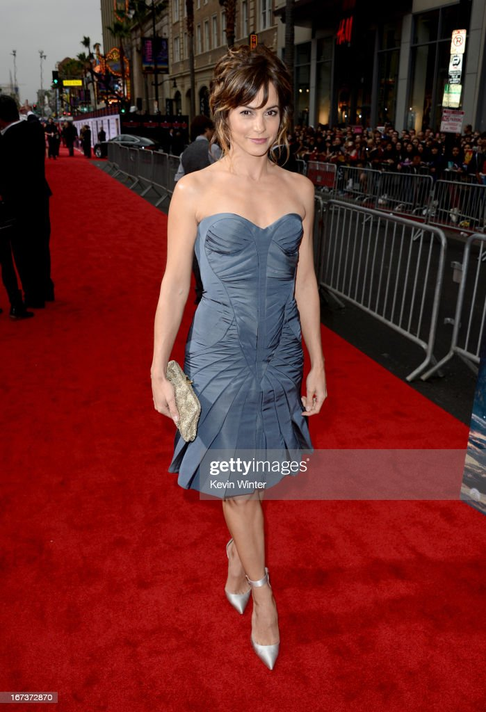 Actress Stephanie Szostak arrives at the premiere of Walt Disney Pictures' 'Iron Man 3' at the El Capitan Theatre on April 24, 2013 in Hollywood, California.