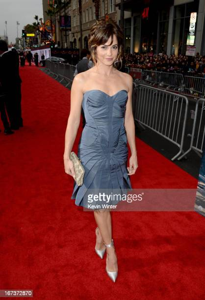 Actress Stephanie Szostak arrives at the premiere of Walt Disney Pictures' Iron Man 3 at the El Capitan Theatre on April 24 2013 in Hollywood...