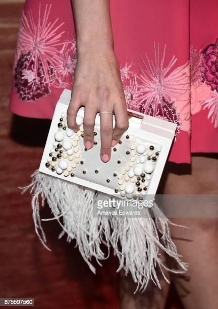 Actress Stevie Lynn Jones clutch detail arrives at the premiere of IFC Films' 'The Tribes Of Palos Verdes' at The Theatre at Ace Hotel on November 17...