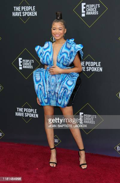 US actress Storm Reid arrives for the 45th annual E People's Choice Awards at Barker Hangar in Santa Monica California on November 10 2019