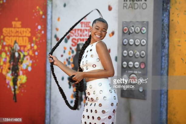 """Actress Storm Reid arrives for the premiere of """"The Suicide Squad"""" at the Regency Village theatre in Westwood, California on August 2, 2021."""