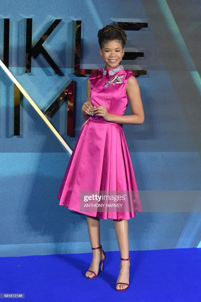 US actress Storm Reid poses during the European premiere of A Wrinkle in Time in London on March 13, 2018. / AFP PHOTO / Anthony HARVEY