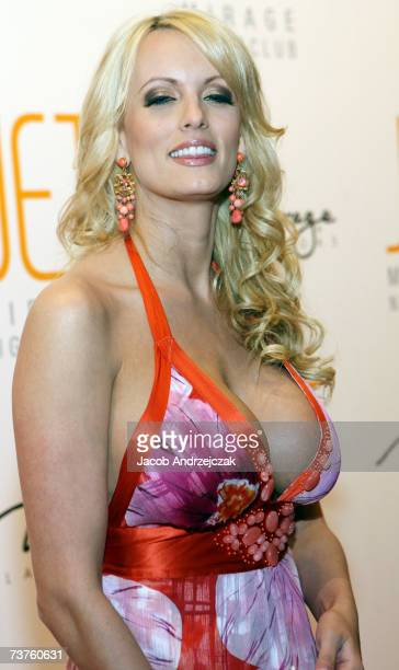 Actress Stormy Daniels arrives at the oneyear anniversary party for the Jet Nightclub at the Mirage Hotel Casino March 31 2007 in Las Vegas Nevada