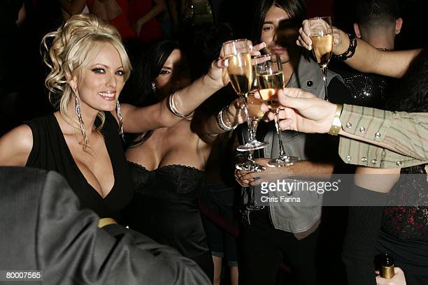 Actress Stormy Daniels poses for photos at a naughty night to remember at TAO Nightclub at The Venetian Hotel and Casino Resort on January 12 2008 in...