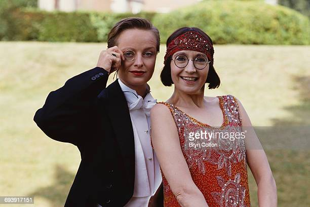 Actress Su Pollard playing Ivy Teasdale right and Catherine 'Katie' Rabett playing Cecily Meldrum pose in costume during a photocall for the new BBC...