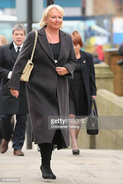 Actress Sue Cleaver arrives for the funeral the funeral of Coronation Street scriptwriter Tony Warren at Manchester Cathedral on March 18 2016 in...