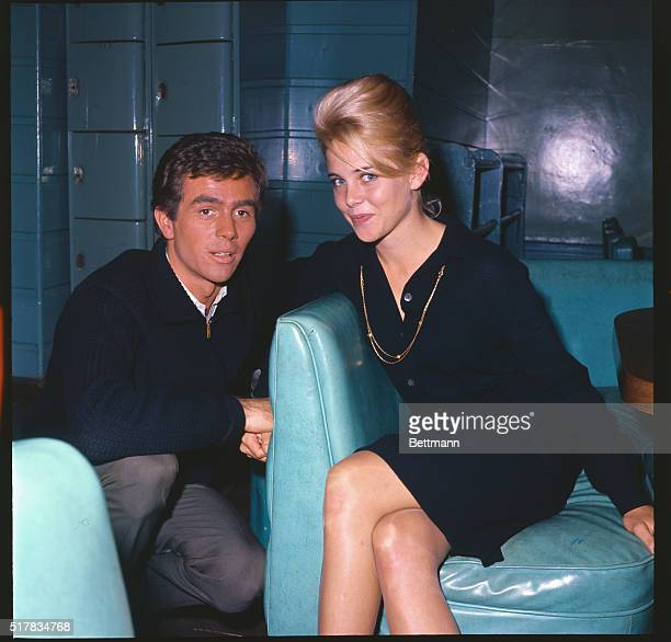 Actress Sue Lyon posing with Hampton Fancher III