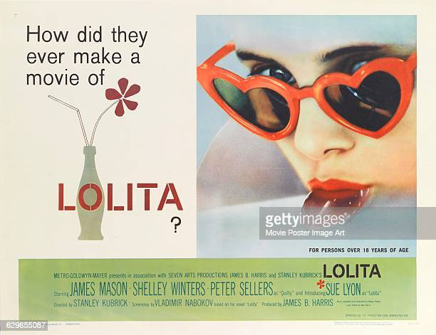 Actress Sue Lyon sucking a lollipop on a poster for the MGM movie 'Lolita' 1962 The movie was directed by Stanley Kubrick and based on the book by...