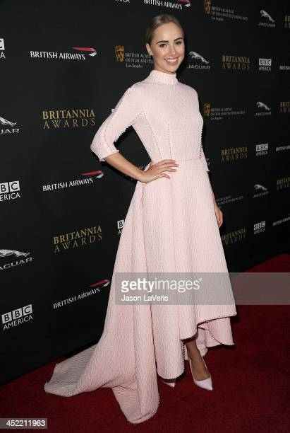 Actress Suki Waterhouse attends the BAFTA Los Angeles Britannia Awards at The Beverly Hilton Hotel on November 9 2013 in Beverly Hills California
