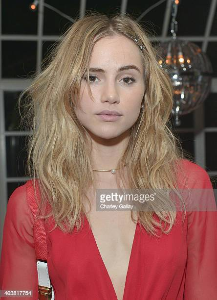 Actress Suki Waterhouse attends VANITY FAIR and Barneys New York Dinner benefiting OXFAM hosted by Rooney Mara at Chateau Marmont on February 18 2015...