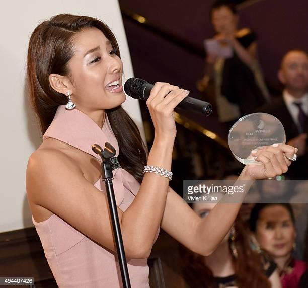 Actress Sumire Matsubara receives the Rising Star Award at the Asian World Film Festival Opening Night Red Carpet Awards Gala And Film at The Culver...