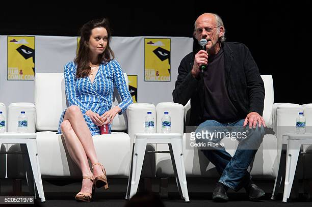 Actress Summer Glau Actor Christopher Lloyd speak onstage at the press conference during MEFCC 2016 at Dubai World Trade Centre on April 8 2016 in...
