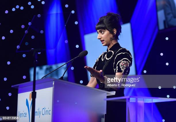 Actress Sunita Mani attend the Venice Family Clinic's 36th Annual Silver Circle Gal at The Beverly Hilton Hotel on March 19 2018 in Beverly Hills...