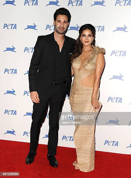 Actress Sunny Leone and husband Daniel Weber attend PETA's 35th anniversary party at Hollywood Palladium on September 30 2015 in Los Angeles...