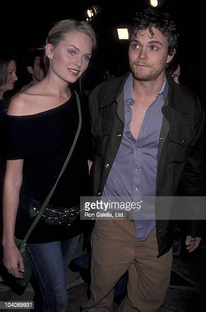 Actress Sunny Mabrey and actor Clayne Crawford attend the premiere of 'From Hell' on October 17 2001 at Mann Village Theater in Westwood California
