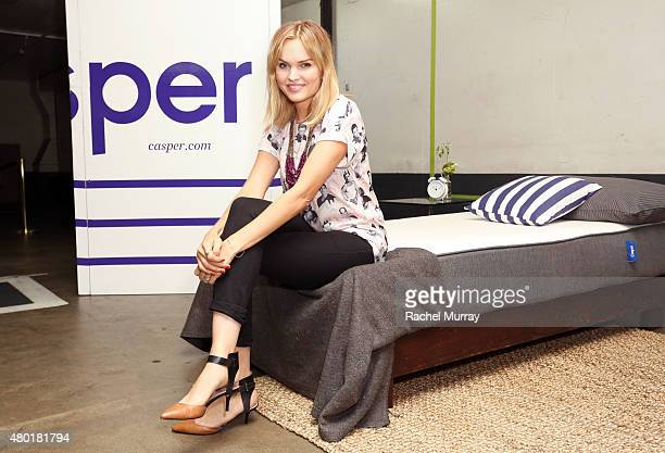 Actress Sunny Mabrey checks out the Casper mattresses during Casper's LA celebration at Blind Dragon on July 9 2015 in West Hollywood California