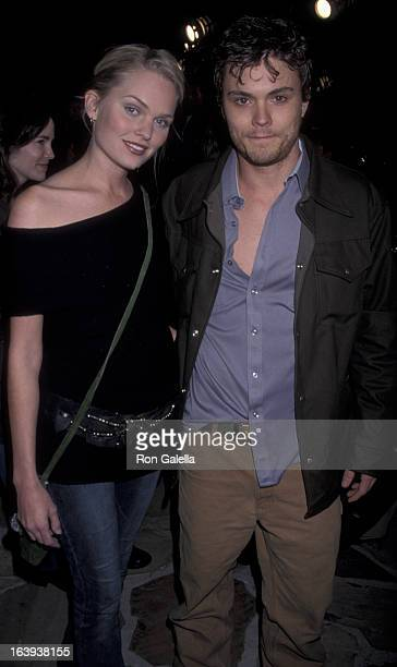 Actress Sunny Maybrey and actor Clayne Crawford attend the premiere of From Hell on October 17 2001 at Mann Village Theater in Westwood California