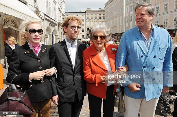 Actress Sunnyi Melles, Sebastian Rabl, Marianne Sayn Wittgenstein-Sayn and son Peter Wittgenstein-Sayn attend the Hermes champagne brunch during the...