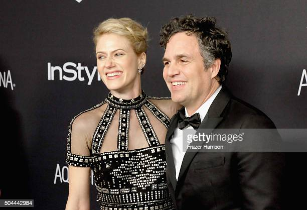 Actress Sunrise Coigney and actor Mark Ruffalo attend InStyle and Warner Bros 73rd Annual Golden Globe Awards PostParty at The Beverly Hilton Hotel...