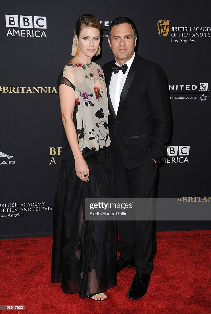 Actress Sunrise Coigney (L) and honoree Mark Ruffalo arrive at the BAFTA Los Angeles Jaguar Britannia Awards at The Beverly Hilton Hotel on October 30, 2014 in Beverly Hills, California.