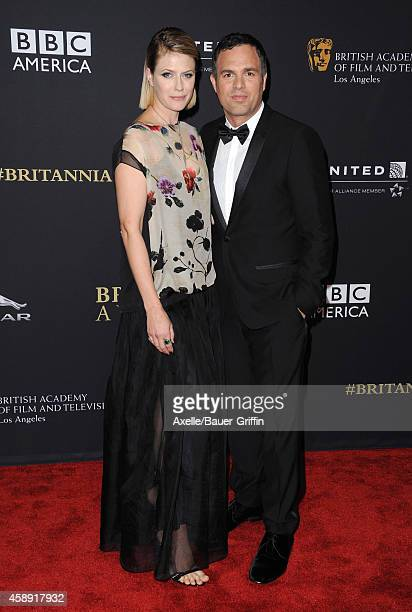 Actress Sunrise Coigney and honoree Mark Ruffalo arrive at the BAFTA Los Angeles Jaguar Britannia Awards at The Beverly Hilton Hotel on October 30,...