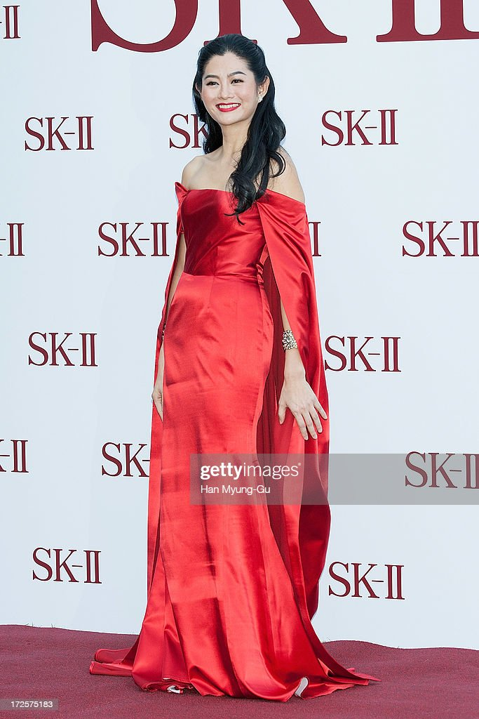 Actress Suquan Bulakul poses for the photogrpahs during the SK-II Honoring The Spirit Of Discovery event at the Raum on July 3, 2013 in Seoul, South Korea.