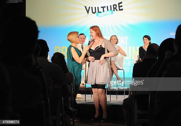 Actress Susan Blackwell speaks to an audience member on stage at Vulture Festival Presents An Irreverent Broadway Brunch at Milk Studios on May 31...