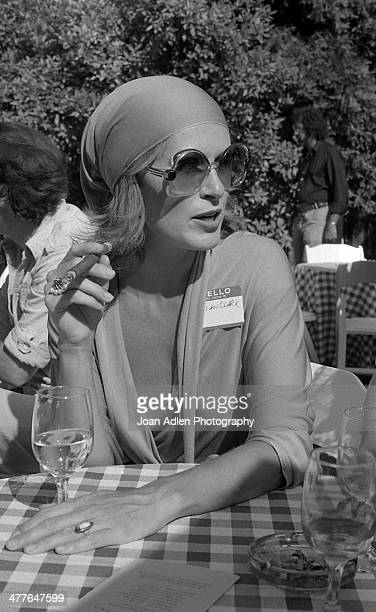 Actress Susan Clark smokes a cigar while chatting at an ERA event hosted by and at the home of Actress Producer Social Activist Marlo Thomas in...