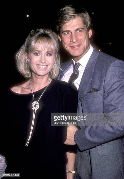 Actress Susan George and actor Simon MacCorkindale attend a Party for Glenn Larson on October 23 1985 at Chasen's Restaurant in Beverly Hills...