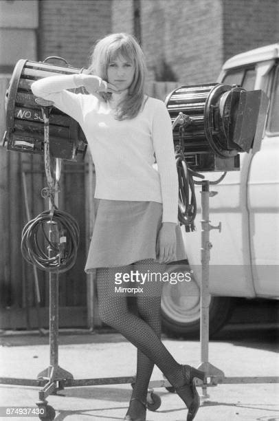 Actress Susan George pictured on the film set during a filming break in Tooting High Street London She is filming at a pub called The Castle Susan...