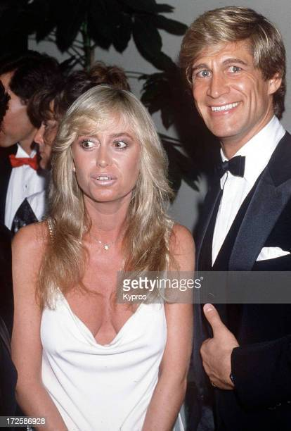 Actress Susan George with her husband actor Simon MacCorkindale circa 1990