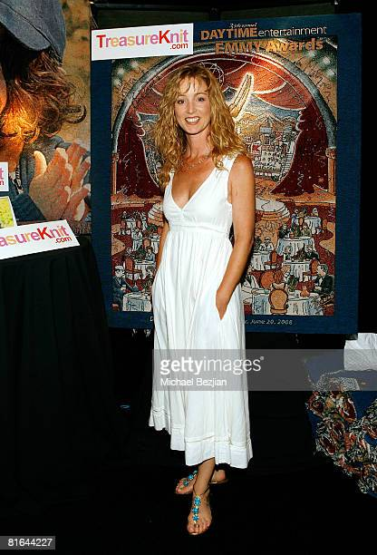 Actress Susan Haskell poses with products by Treasureknitcom in the Daytime Emmy official gift lounge produced by On 3 Productions held at the Kodak...