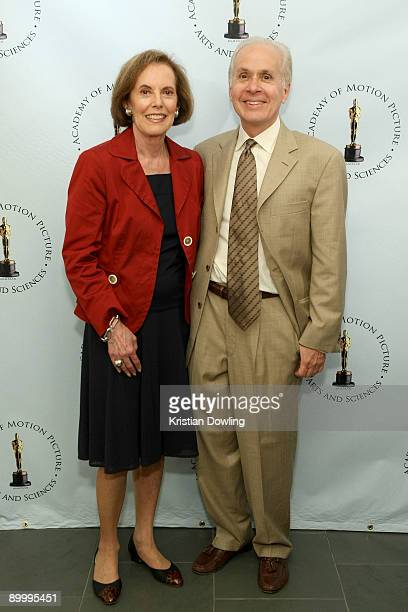 """Actress Susan Kohner and film critic Steve Barber arrive for AMPAS's """"Imitation Of Life"""" 50th Anniversary Screening at AMPAS Samuel Goldwyn Theater..."""