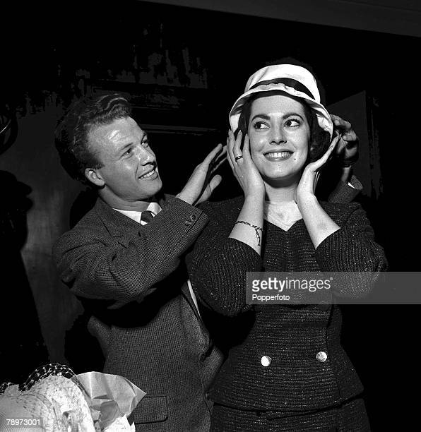 1959 Actress Susan Kohner is presented with a hat by Luton Town's right winger Billy Bingham