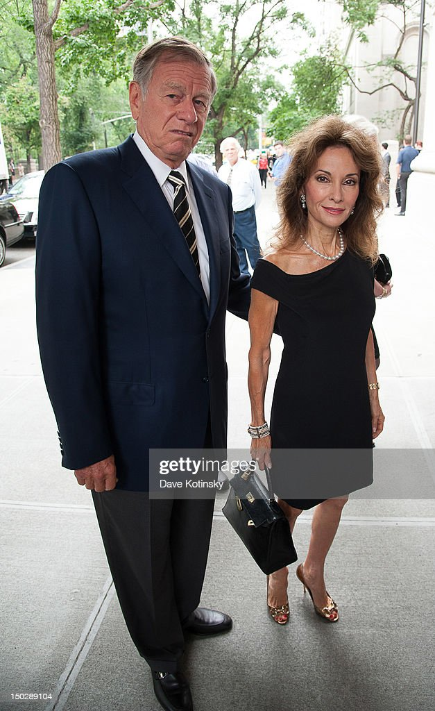 Actress Susan Lucci (R) and her husband Helmut Huber attend the funeral service for Marvin Hamlisch at Temple Emanu-El on August 14, 2012 in New York City. Hamlisch died in Los Angeles on August 6, 2012 at age 68. In his long and distinguished career, the music man received a Pulitzer Prize as well as the Oscar, Tony, Emmy and a GRAMMY.