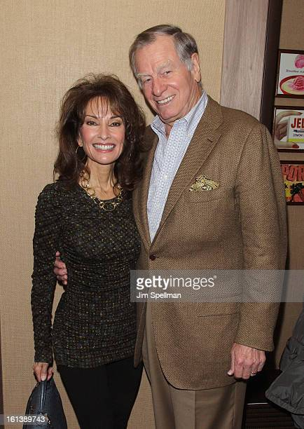 Actress Susan Lucci and husband Helmut Huber attend the Spontaneous Construction premiere at Guys American Kitchen Bar on February 10 2013 in New...