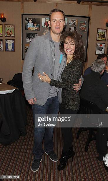 Actress Susan Lucci and son Andreas Huber attend the Spontaneous Construction premiere at Guys American Kitchen Bar on February 10 2013 in New York...
