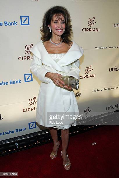 Actress Susan Lucci poses at the Cipriani Wall Street Concert Series benefiting UNICEF the Sarah Ferguson Foundation at Cipriani Wall Street April 17...