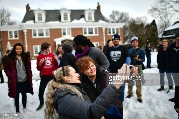 Actress Susan Sarandon a supporter of Democratic Presidential candidate Bernie Sanders takes a selfie with a local campaign volunteer after speaking...