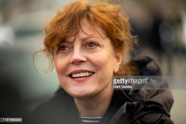 Actress Susan Sarandon, a supporter of Democratic Presidential candidate Bernie Sanders, greets local campaign volunteers after speaking during a...