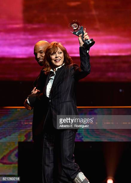 Actress Susan Sarandon accepts the Cinema Icon Award during the CinemaCon Big Screen Achievement Awards brought to you by the CocaCola Company at The...