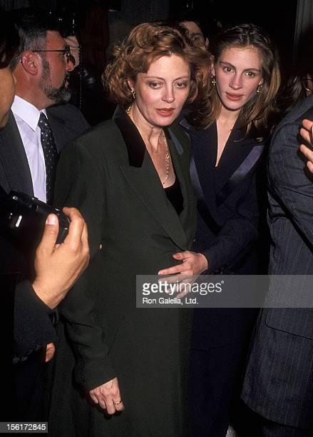 Actress Susan Sarandon and actress Julia Roberts attend Richard Tyler's Fall Collection Fashion Show on April 15 1992 at Royalton Hotel in New York...