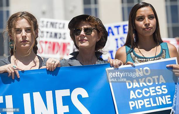Actress Susan Sarandon and actress Riley Keough protest during a rally by the Standing Rock Sioux tribe in support of a lawsuit against the Army...