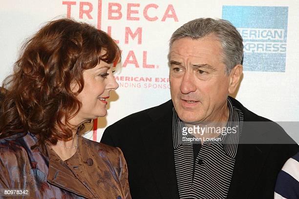 Actress Susan Sarandon and CoFounder of Tribeca Film Festival Robert De Niro attend the premiere of Speed Racer during the 2008 Tribeca Film Festival...